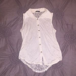 Tops - Cream tank with lace back size medium